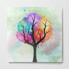 Awesome abstract pastel colors oil paint tree of Life Metal Print