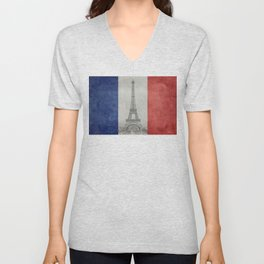Flag of France with Eiffel Tower Vintage style Unisex V-Neck