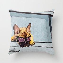 Fun Frenchie Rider Throw Pillow