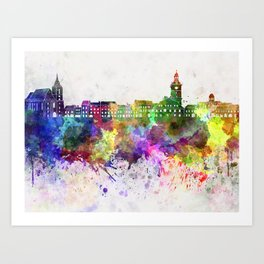 Brasov skyline in watercolor background Art Print