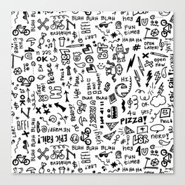 Passing Notes in Class // Old School Handwriting and Doodle Drawings in Black & White Canvas Print
