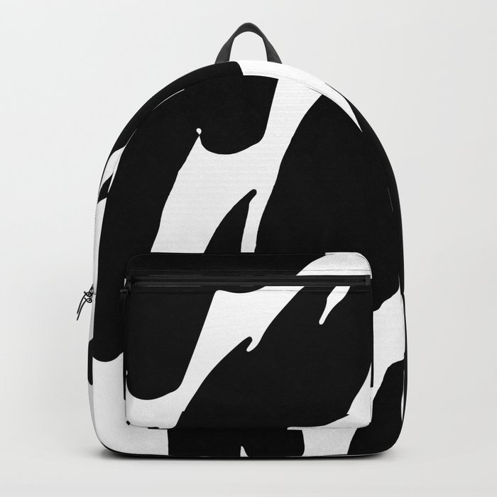 Black Abstract Brush Marks Backpack