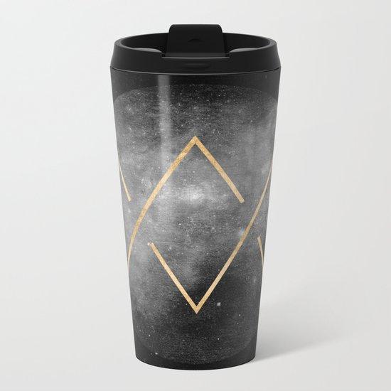 Gold Moon Geometric Tribal Design Metal Travel Mug