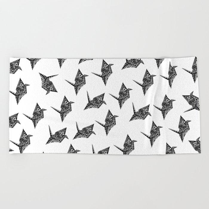 Paper Crane Bird Origami Doodle Beach Towel
