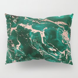 Modern rose gold marble green emerald watercolor pattern Pillow Sham