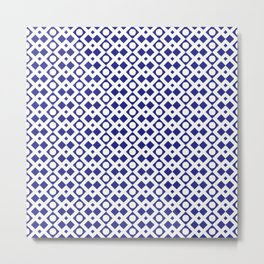 Geometric Pattern - Diamonds and Dots - Navy Blue & White Metal Print
