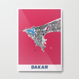 Dakar - Senegal MilkTea City Map Metal Print