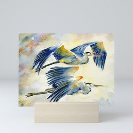 Flying Together - Great Blue Heron Mini Art Print