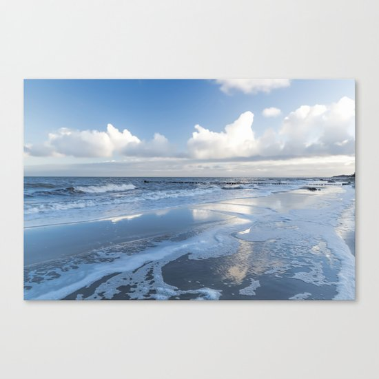 Cold day at the beach - Ocean blue on #Society6 Canvas Print