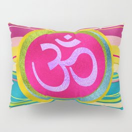 Colorfull Glitter OM symbol on  Pattern Pillow Sham