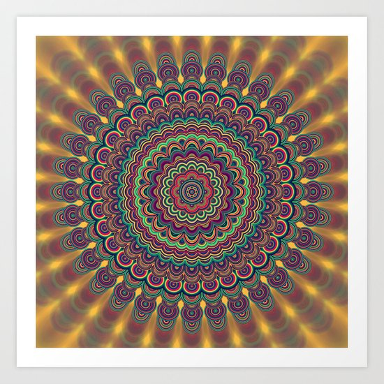 Psychedelic oval  mandala Art Print
