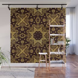 golden flowers on the brown background Wall Mural