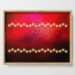 Red and black textured background decorated with gold flowers Serving Tray