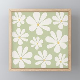 Floral Daisy Pattern - Green Framed Mini Art Print