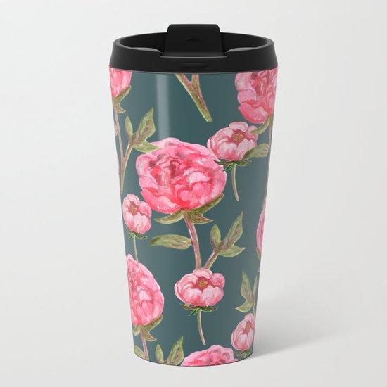 Pink Peonies On Green Background Metal Travel Mug
