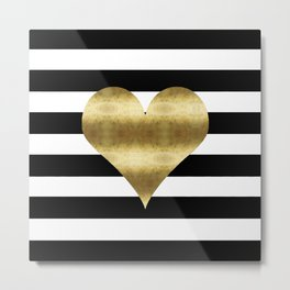 gold heart black and white stripe Metal Print