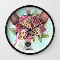 yorkie Wall Clocks featuring Yorkie by Carmen McCormick