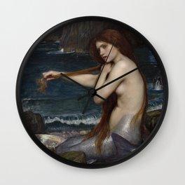 Mermaid Painting John William Waterhouse Wall Clock