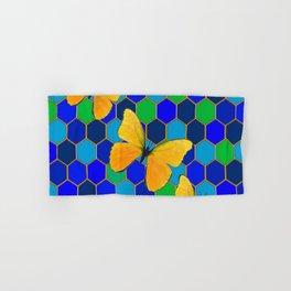 YELLOW BUTTERFLIES ON GREEN-BLUE ABSTRACT Hand & Bath Towel