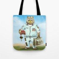 top gun Tote Bags featuring Top Gun Bear by Mat Art