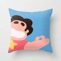 steven universe Throw Pillows featuring Steven Universe by EsthersHouse