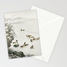 Ducks Swimming In The Lake - Japanese Vintage Woodblock Print Stationery Cards