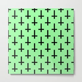Black and Green Inverted Cross Pattern Metal Print
