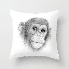 A Chimpanzee :: Not Monkeying Around Throw Pillow