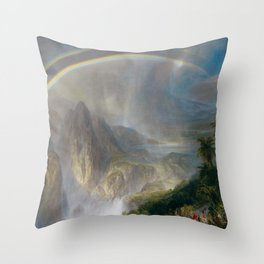 Alpine Lake and Rainbow river landscape painting by Frederic Edwin Church Throw Pillow