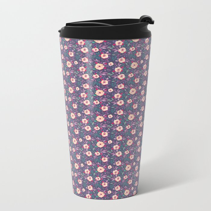 Flower Watercolor Pattern Metal Travel Mug