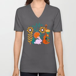 Music and a little rabbit Unisex V-Neck