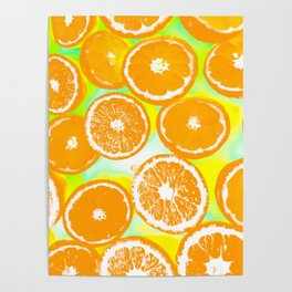 juicy orange pattern abstract with yellow and green background Poster