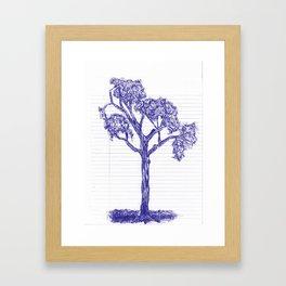 Blue Pen Hand Drawn Tree Framed Art Print