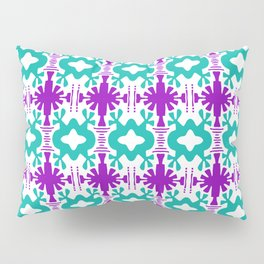 Kurt - Symmetrical Digital Art in Aqua, Purple and White Pillow Sham