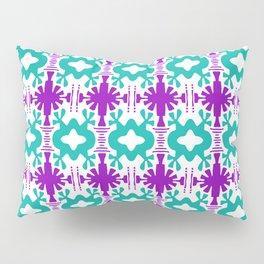 Kurt - Symmetrical Digital Art in Aqua, Purple and White Pillow Sham