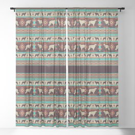 Boho dogs   Borzoi / Russian wolfhound sunset Sheer Curtain