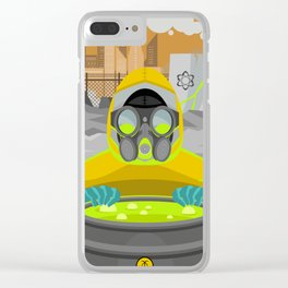 radioactive biohazard suit man on nuclear meltdown Clear iPhone Case