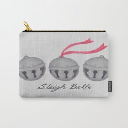 Sleigh Bells in Watercolor - Gray Carry-All Pouch
