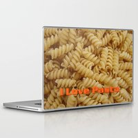 pasta Laptop & iPad Skins featuring I Love Pasta by Elke Balzen