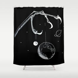 Queen of the Planets - White Ink Shower Curtain