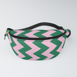 Cotton Candy Pink and Cadmium Green Vertical Zigzags Fanny Pack