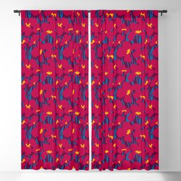 Floral Seamless Pattern with dark red Canna Lilies and blue leaves Blackout Curtain