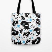 killer whale Tote Bags featuring Cute Killer Whale by markmurphycreative