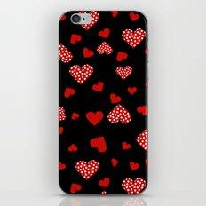Valentines Hearts black iPhone & iPod Skin