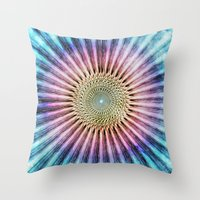 tie dye Throw Pillows featuring Textured Mandala Tie Dye by Phil Perkins