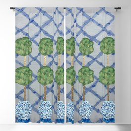 Blue Lattice Ginger Jars Topiary  Blackout Curtain