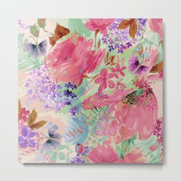 abstract floral pink Metal Print
