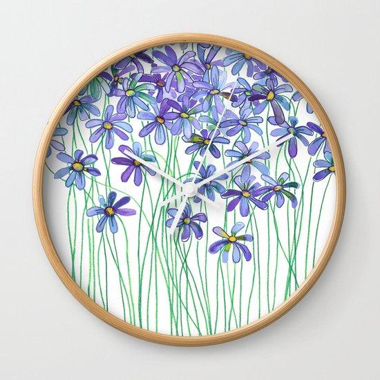 Purple Daisies in Watercolor & Colored Pencil Wall Clock