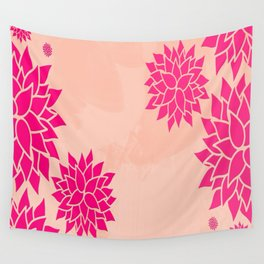 Pink Dahlias on Peach Wall Tapestry