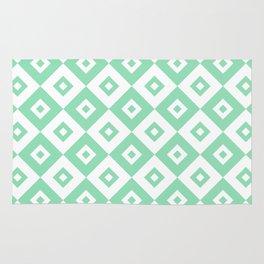 Diamond Check Pattern Mint Green Rug